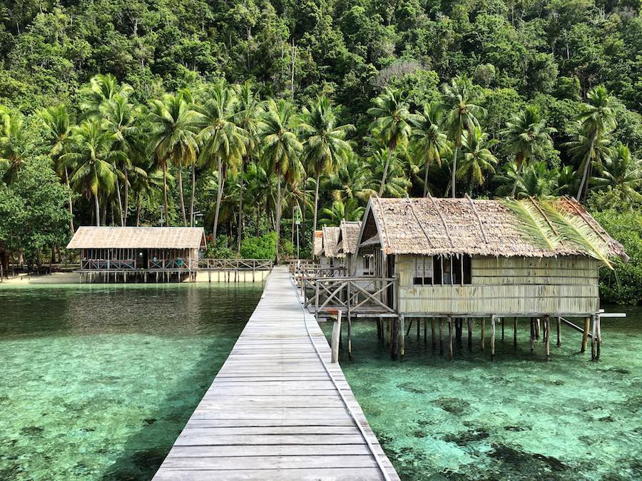 Marko Homestay Raja Ampat Mansuar island overwater bungalow jetty jungle