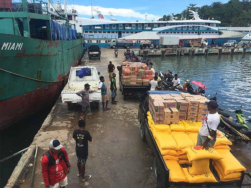 Sorong harbour cargo Bahari Express Raja Ampat