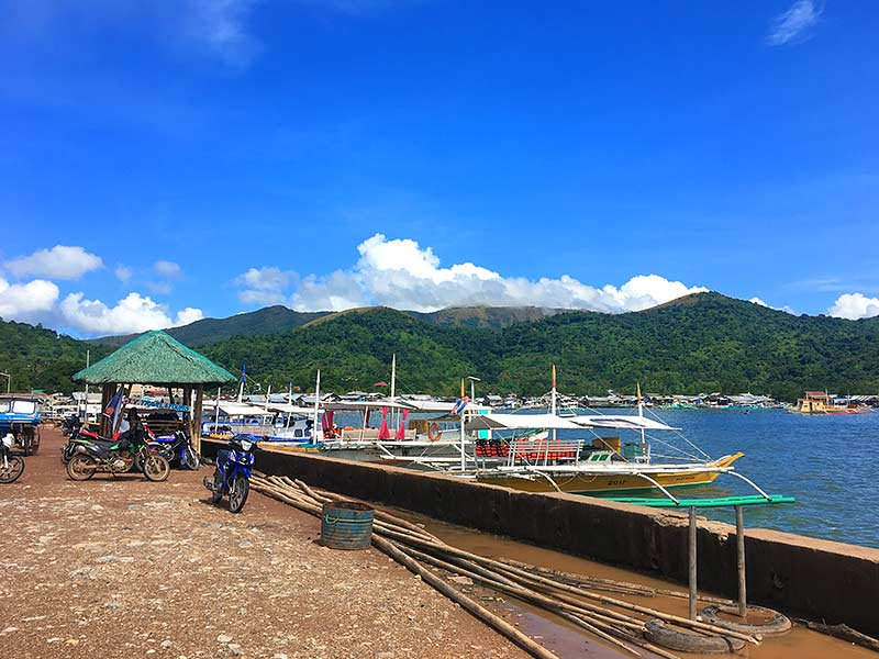 Outrigger tour boats in Coron harbour