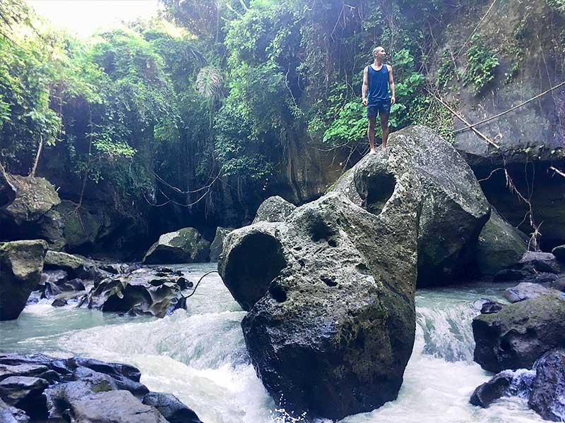 Rock climbing in the Hidden Canyon Bali