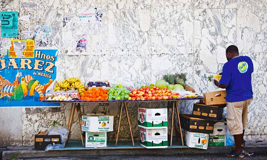 Barbados tropical fruit stall